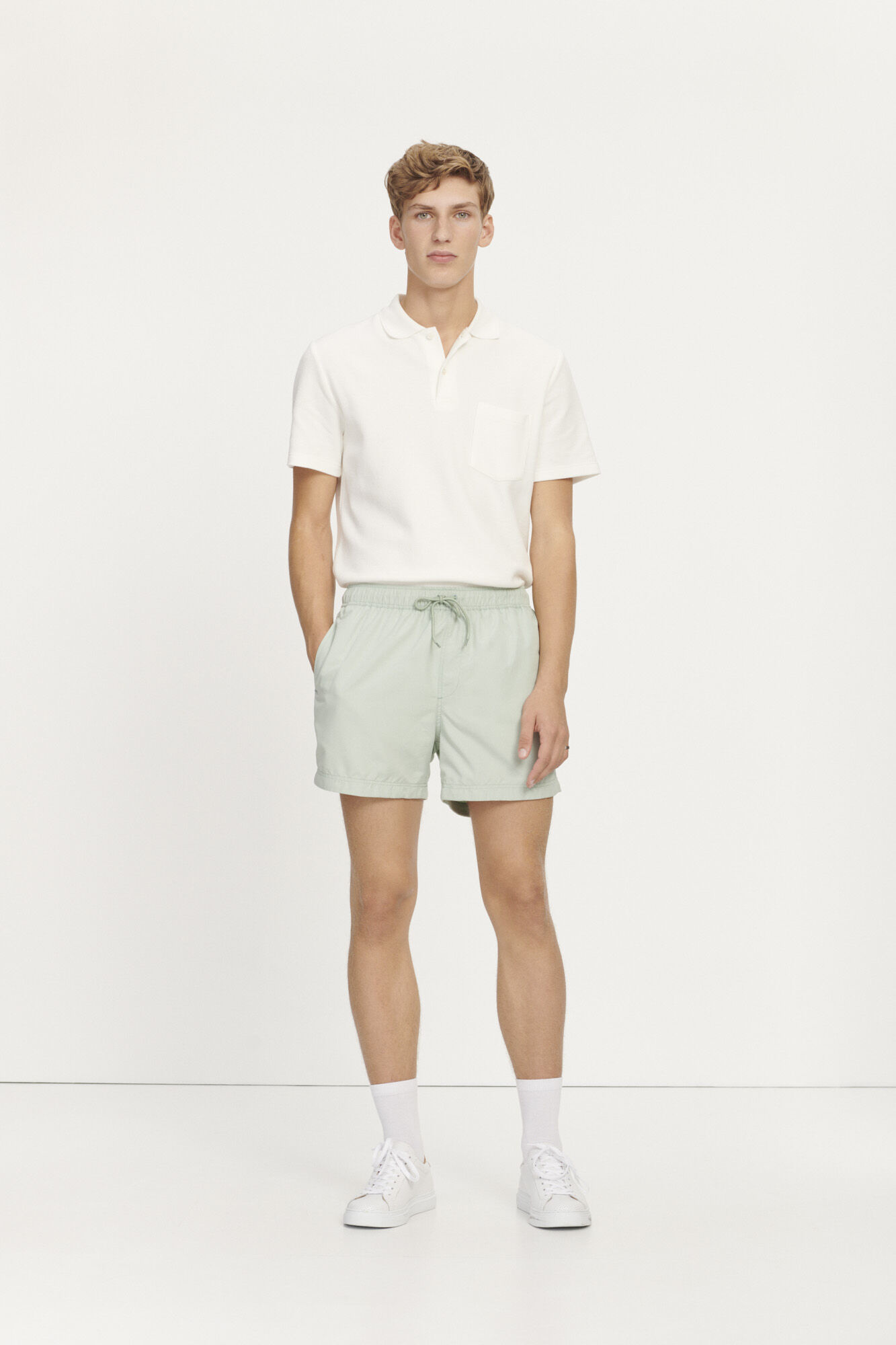 Taranto Cotton Polo Lily White-3