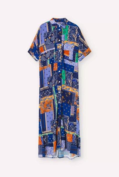 Light Dress Royal Blue Patch Dress