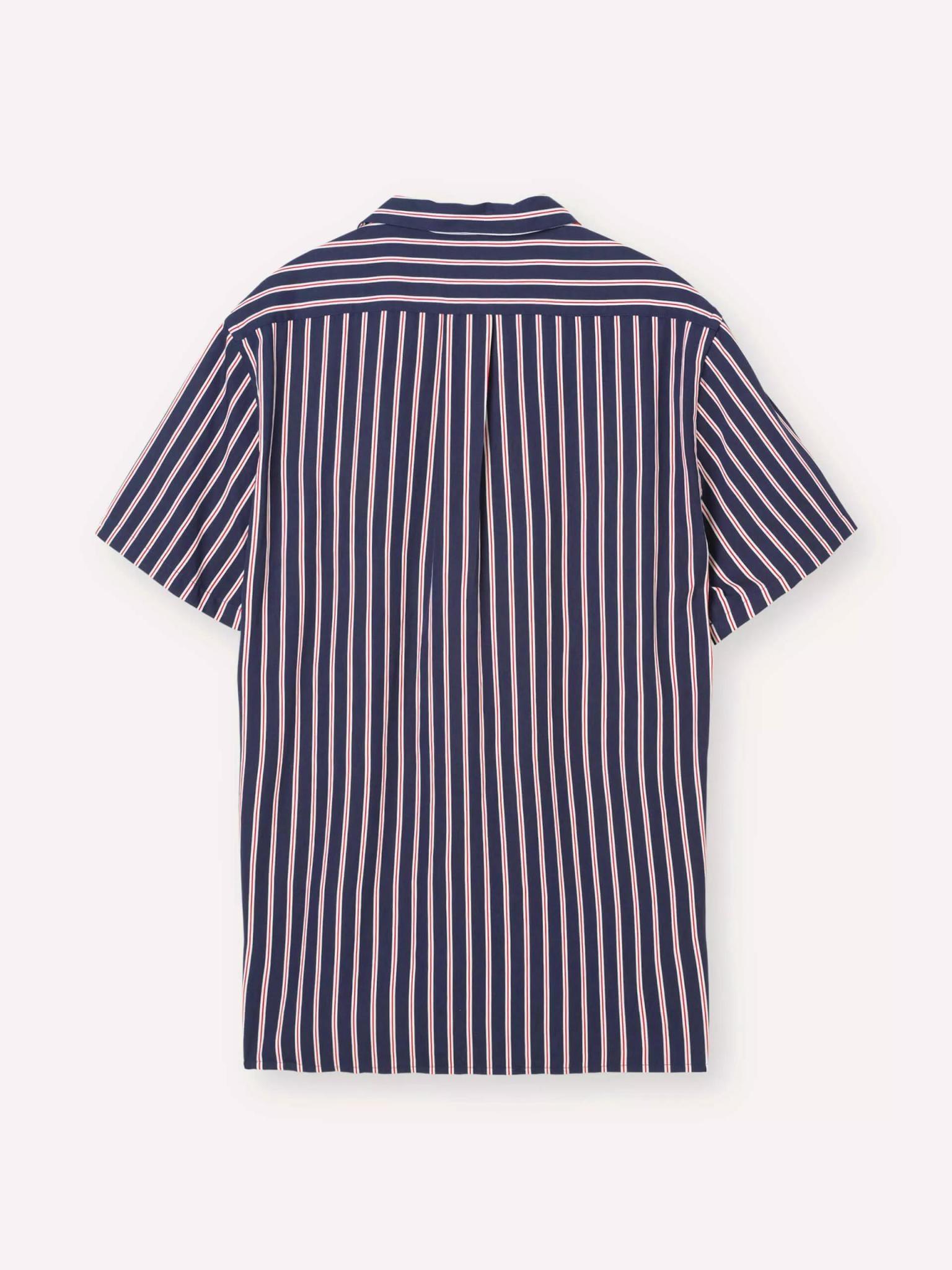 Cave overhemd met korte mouwen blauw rood gestreept-2