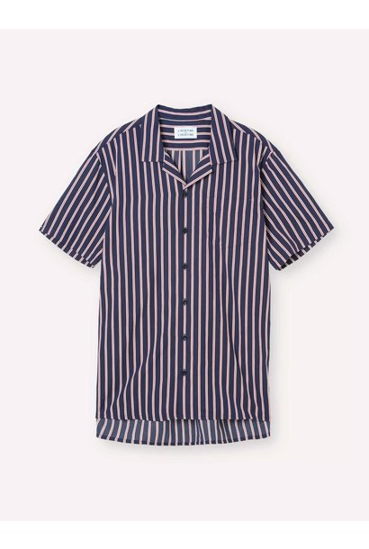 Cave Short Sleeve Navy Red Striped Shirt