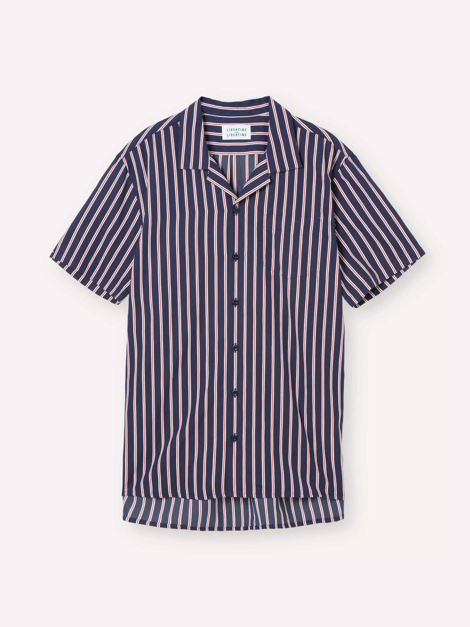 Cave Short Sleeve Navy Red Striped Shirt-1