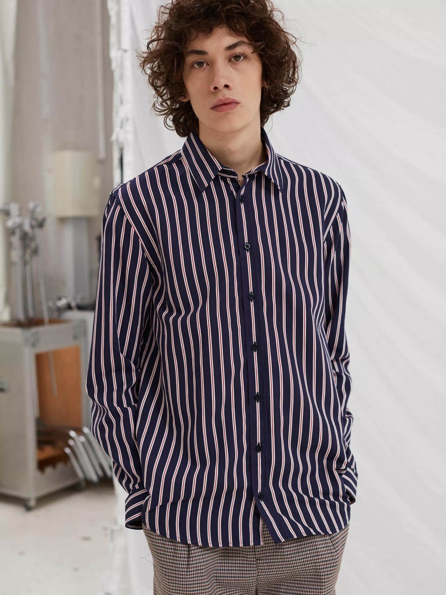 Babylon Navy Red Stripe Shirt-2