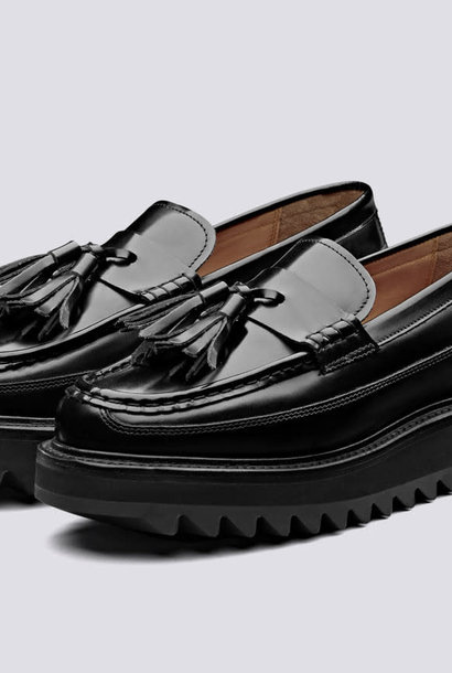 Brie Hi Shine Black Leather Loafers