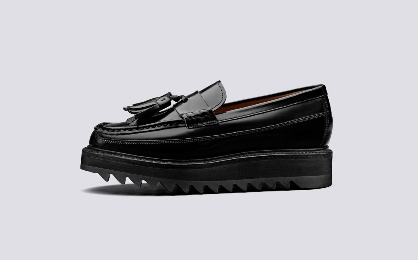 Brie Hi Shine Chunky Black Leather Loafers-4