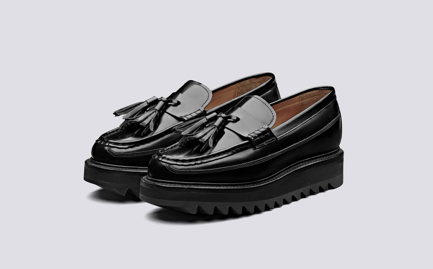 Brie Hi Shine Chunky Black Leather Loafers-5