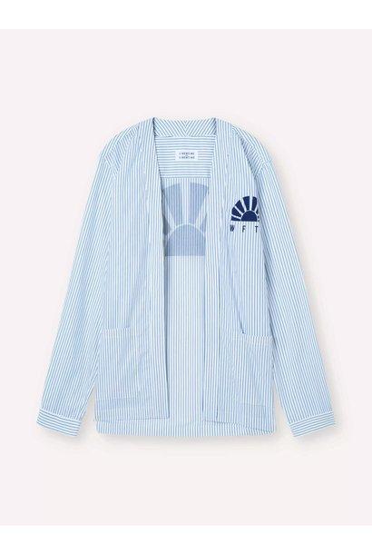 Uproar White Blue Pin Stripe Kimono Shirt