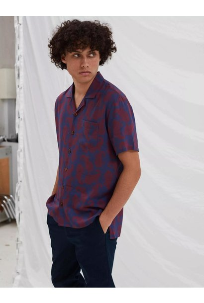 Cave Short Sleeve Wine Paisley Red Shirt