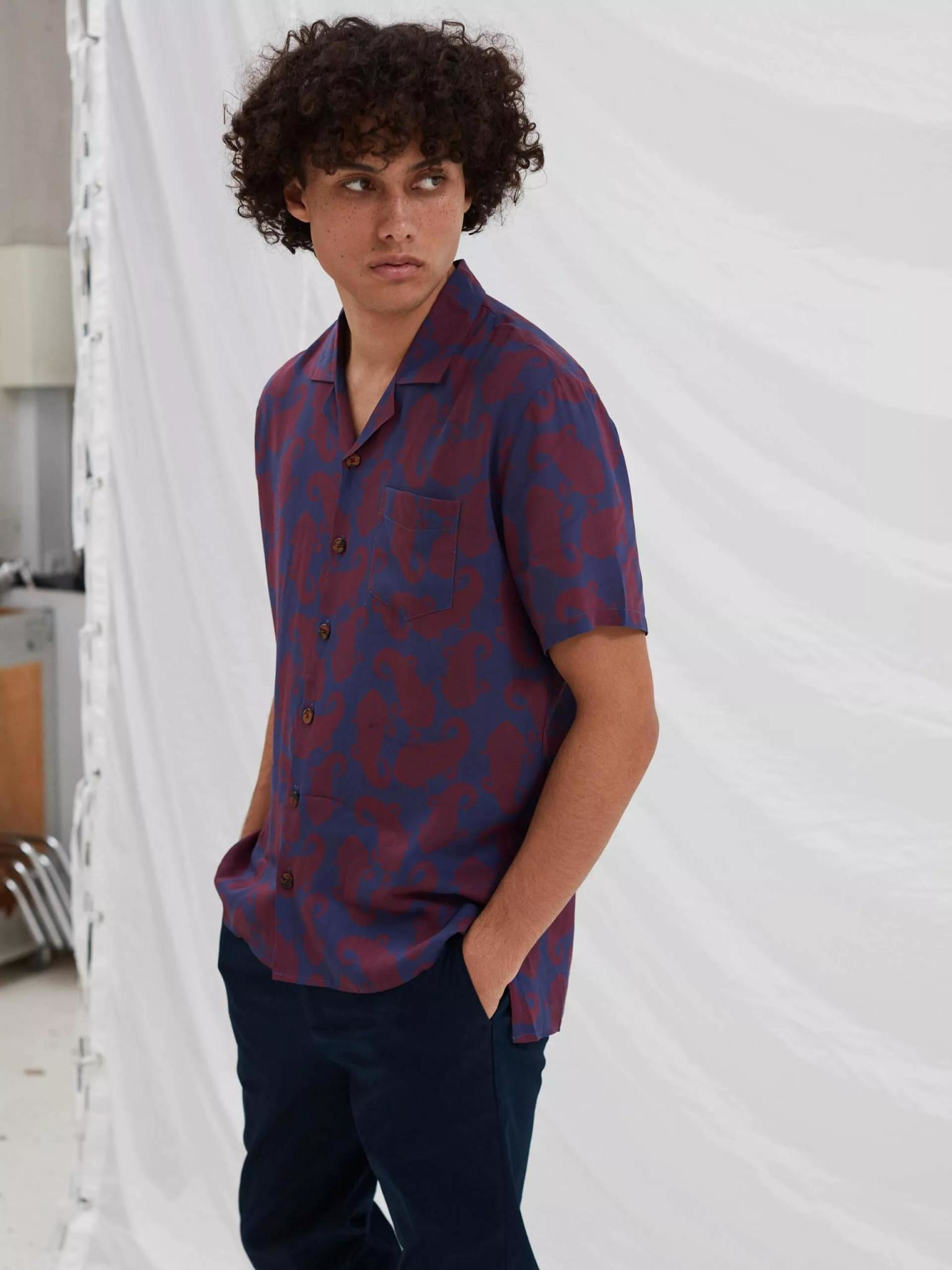Cave Short Sleeve Wine Paisley Red Shirt-1