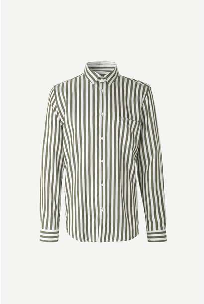 Liam Deep Lichen White Green Striped Shirt