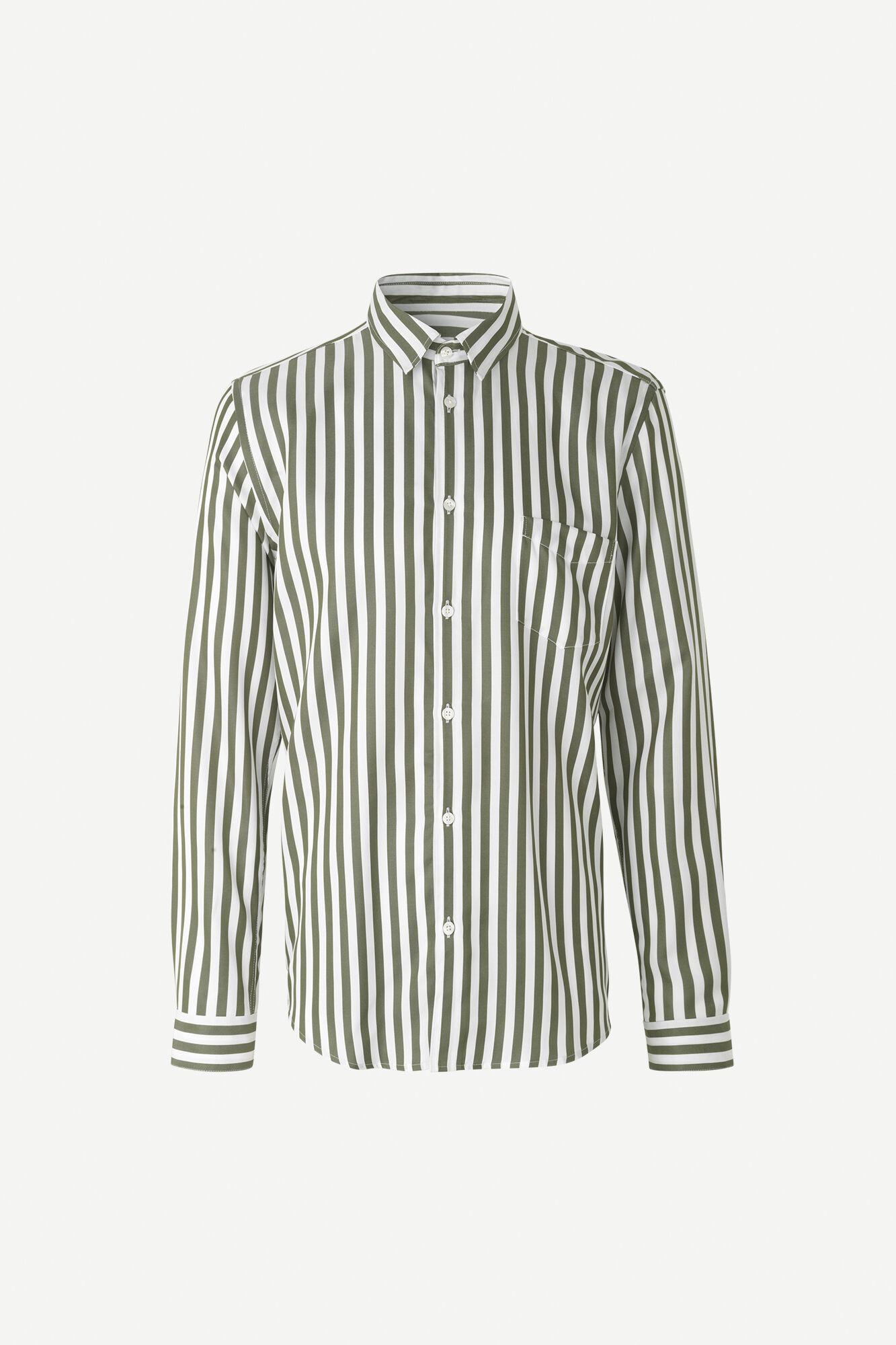 Liam Deep Lichen White Green Striped Shirt-1