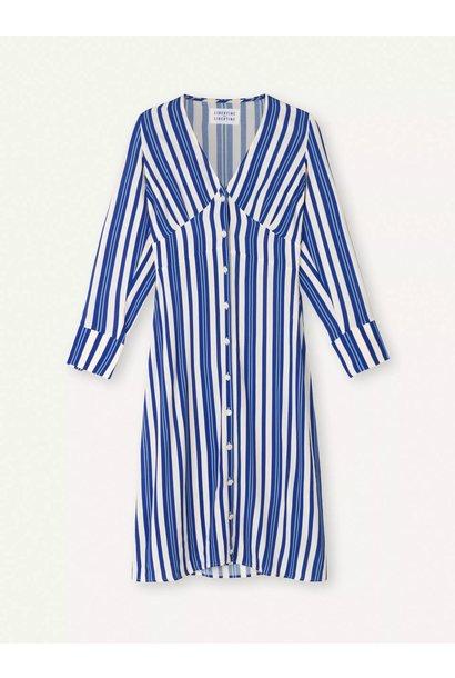 Flame Royal Blue White Stripe Dress