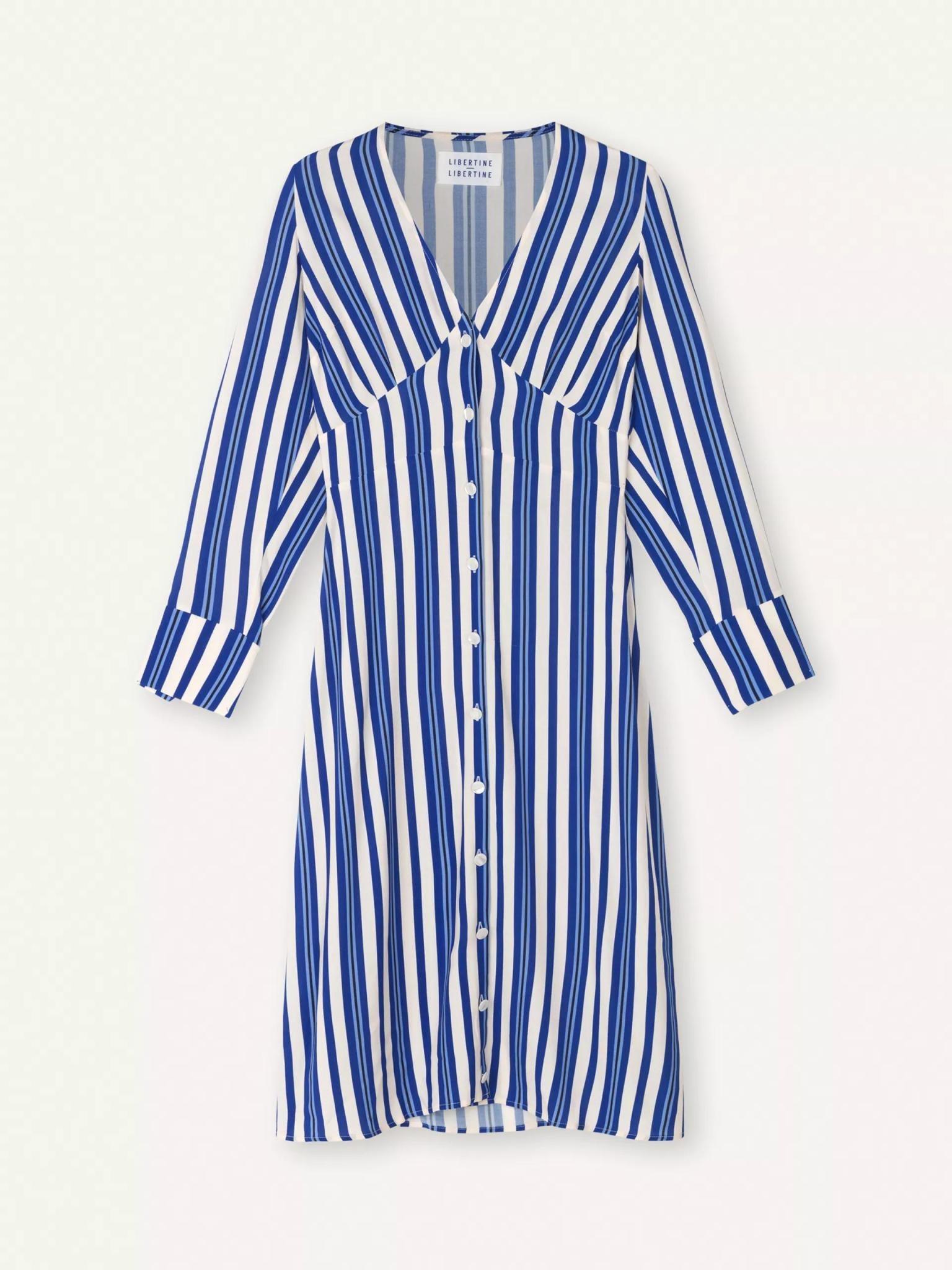 Flame Royal Blue White Stripe Dress-1