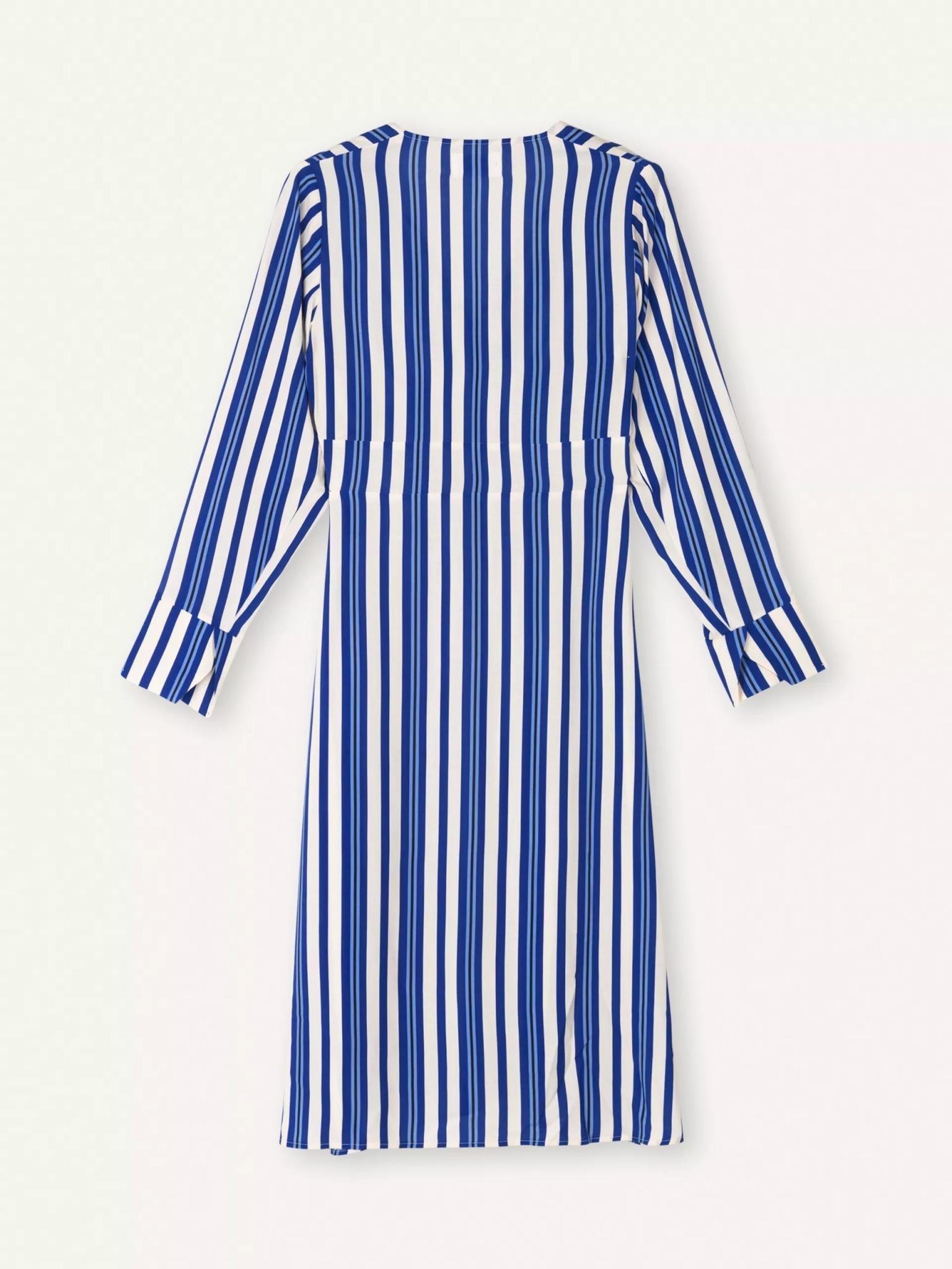 Flame Royal Blue White Stripe Dress-2