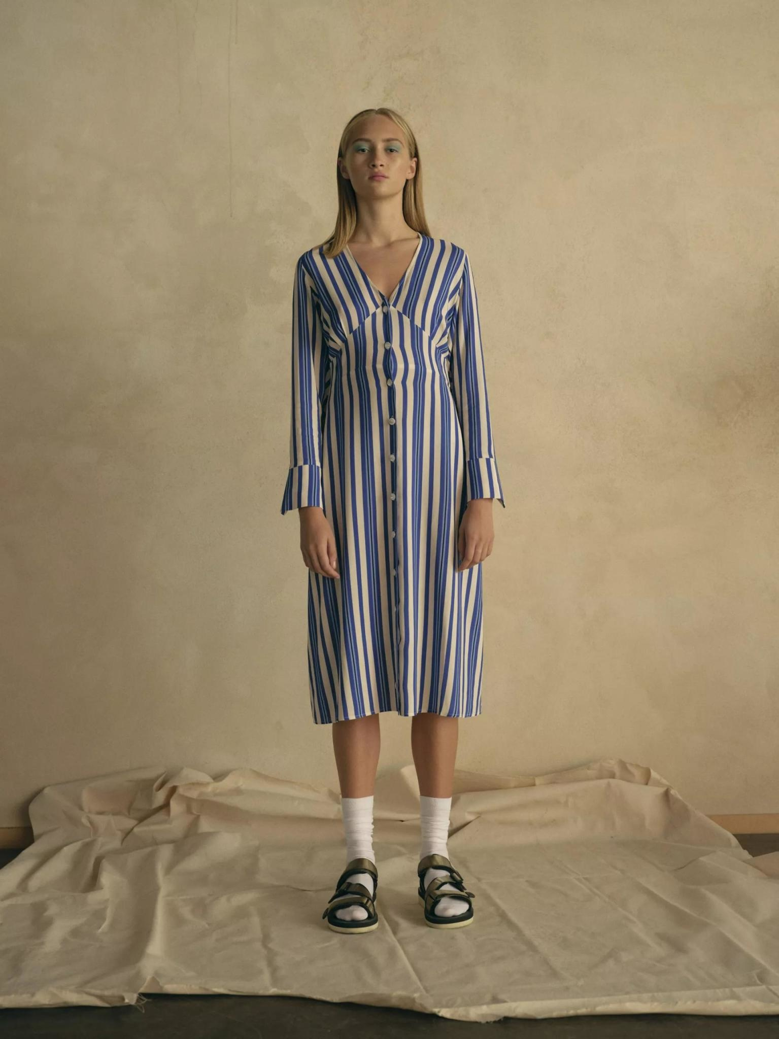 Flame Royal Blue White Stripe Dress-3