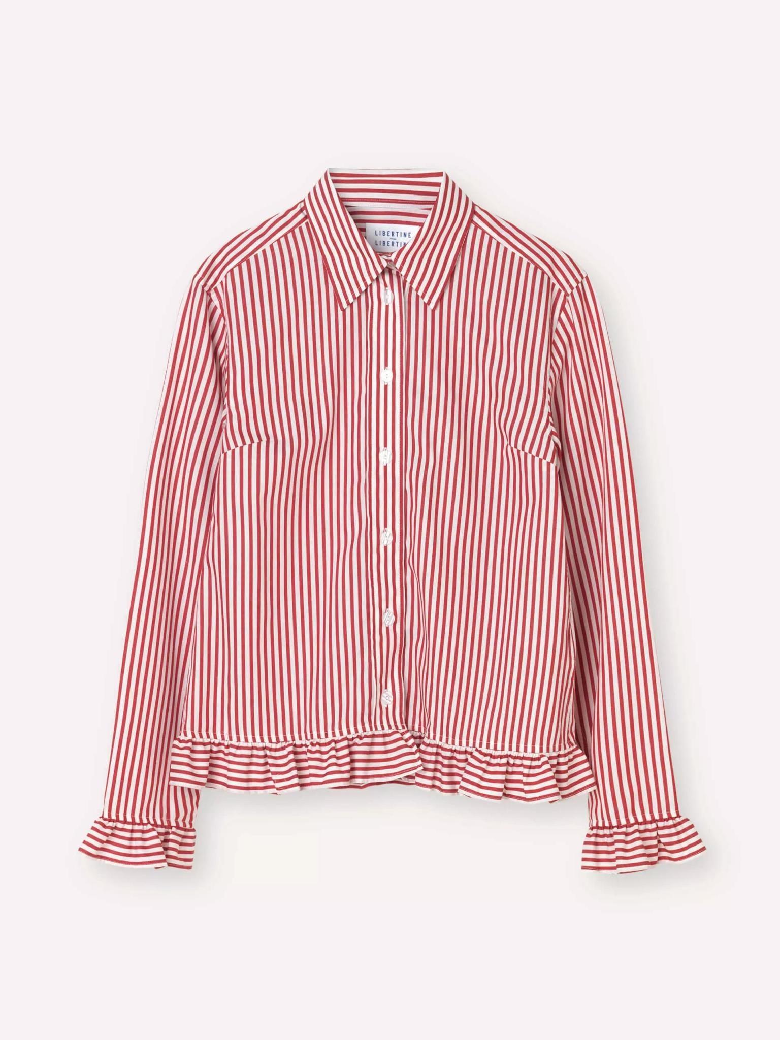 Present White Red Stripe Shirt-1
