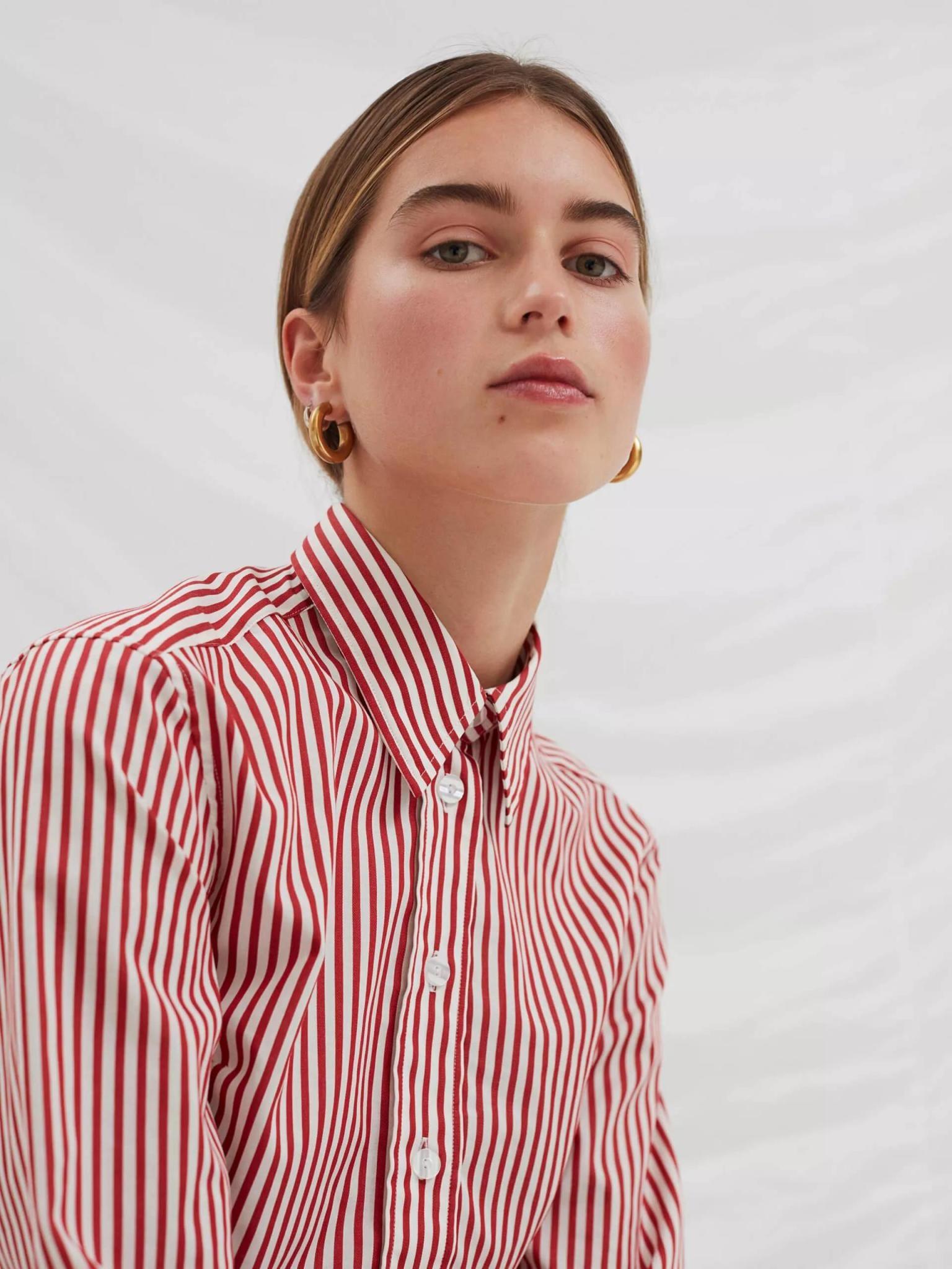 Present White Red Stripe Shirt-3
