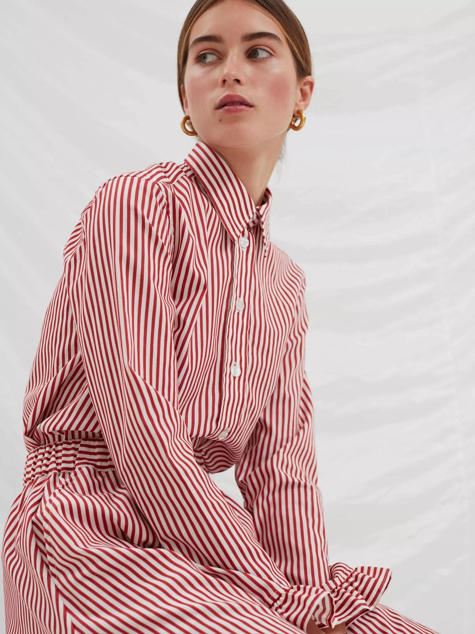 Present White Red Stripe Shirt-4