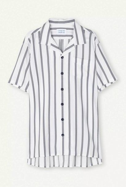 Cave Short Sleeve Shirt White Navy Stripe