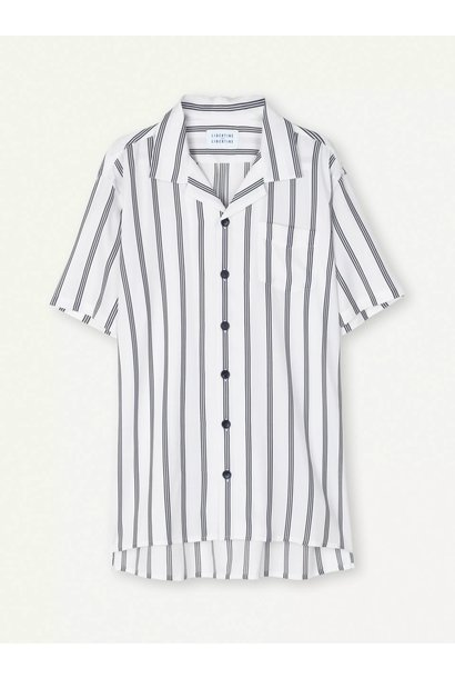 Cave Short Sleeve Shirt White Navy Stripe
