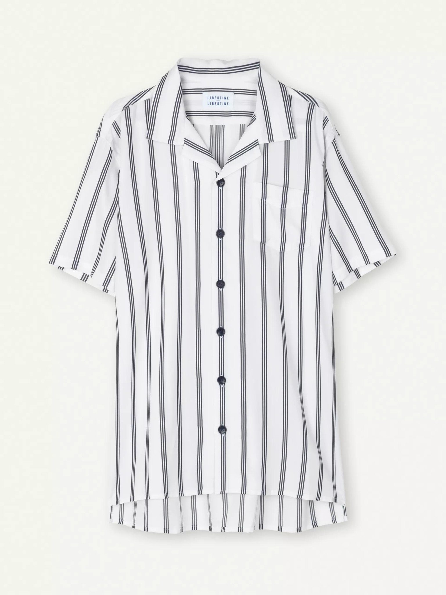 Cave Short Sleeve Shirt White Navy Stripe-1
