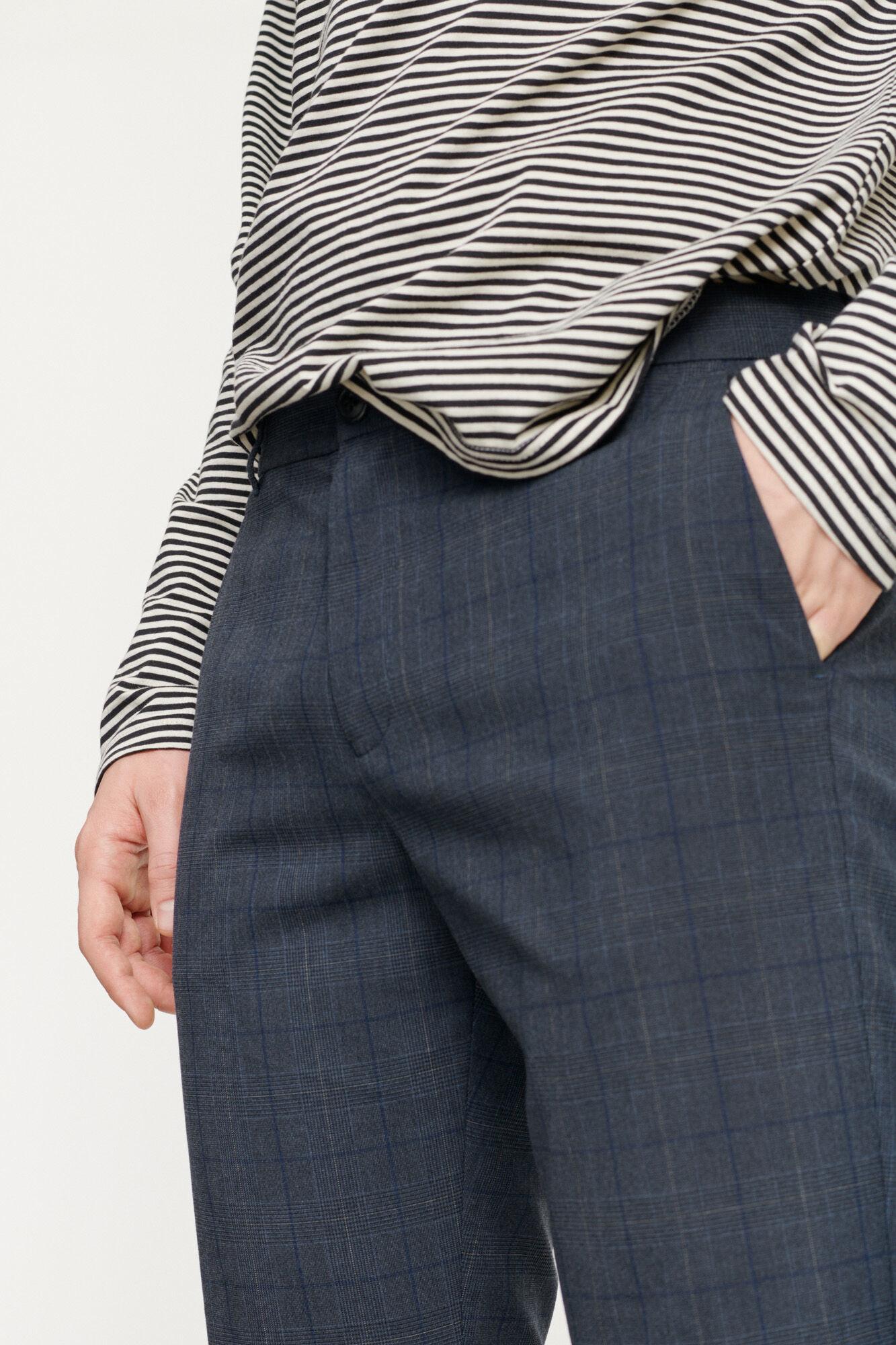 Frankie Regular Fit broek blauw geruit 11538-4