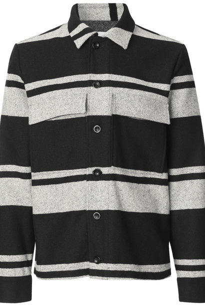 Meli X Jacket Wollen Jas Zwart Wit Gestreept