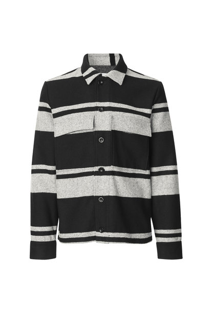Meli X Jacket Wool Jacket Black White Stripe