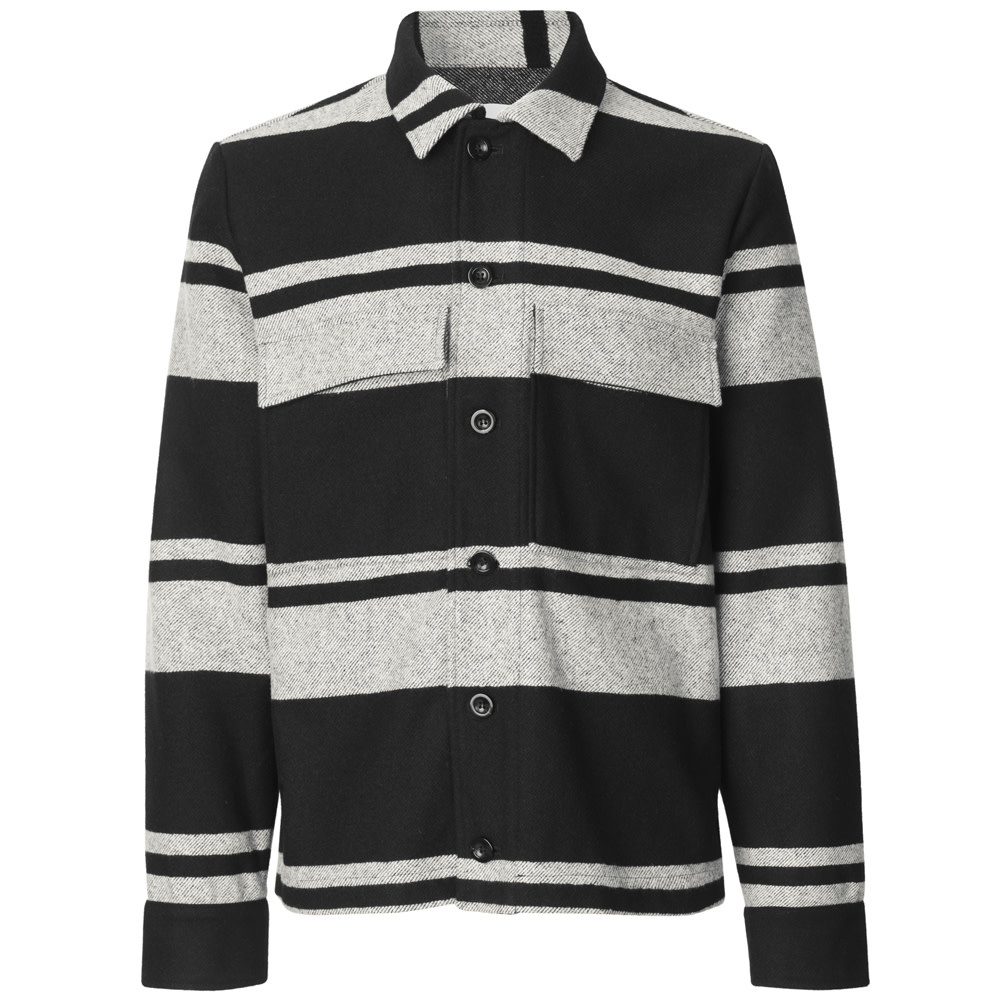 Meli X Jacket Wool Jacket Black White Stripe-1