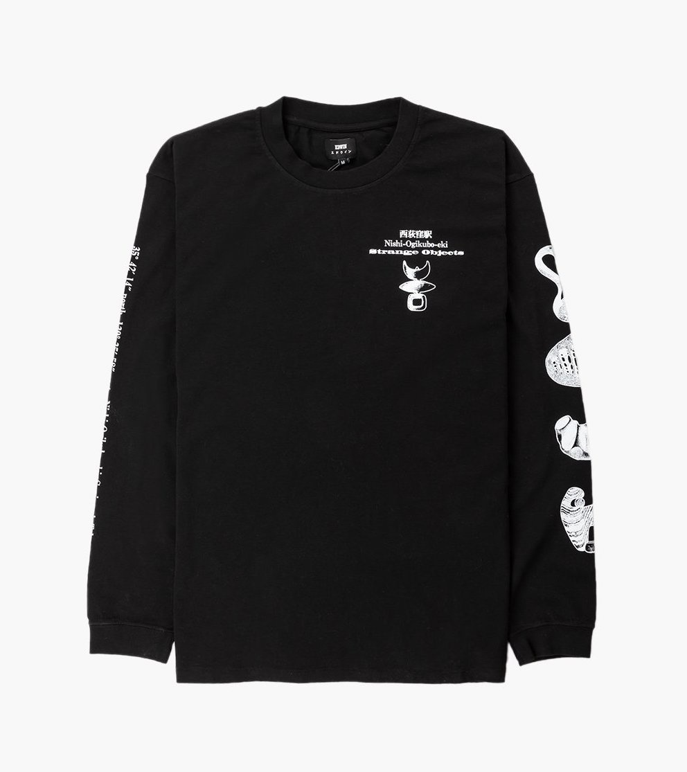 Strange Objects Longsleeve T-Shirt 160g Cotton T-shirt Black-1