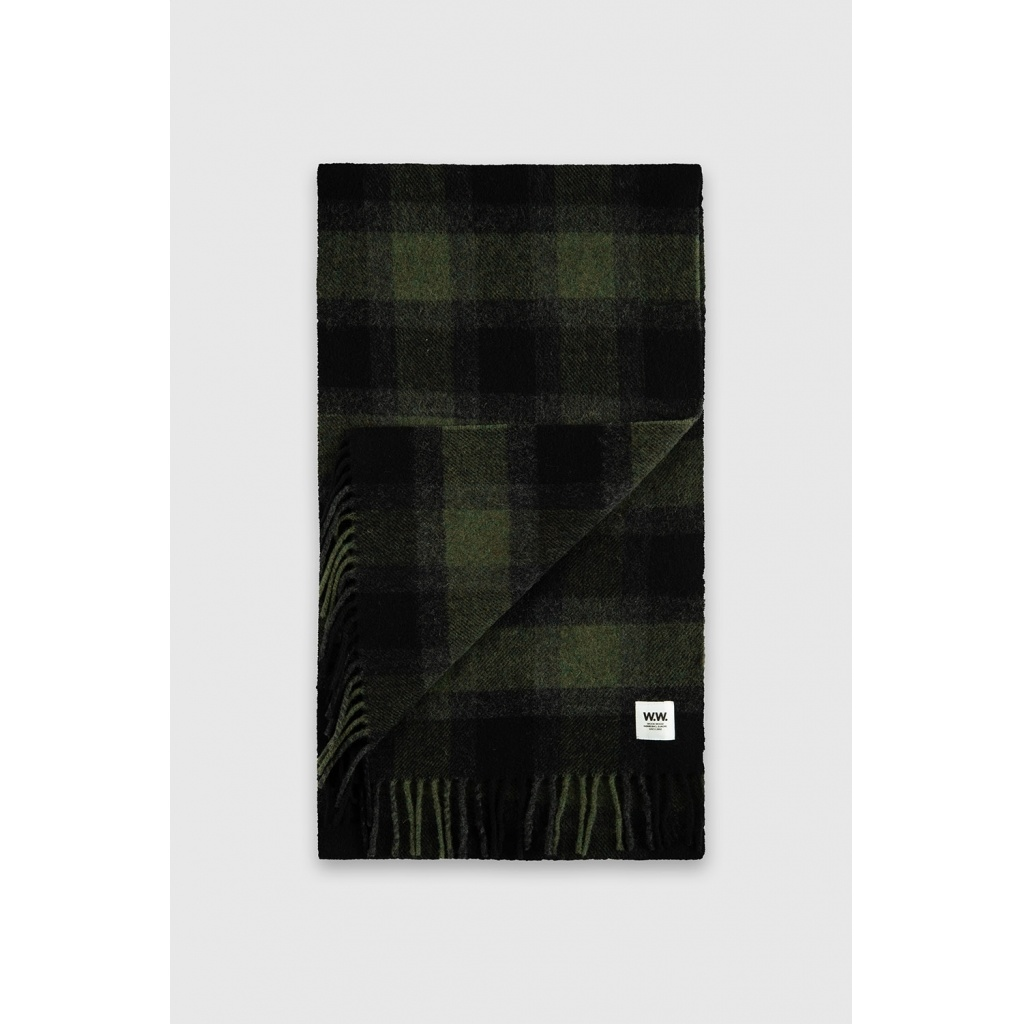 karlo Scarf Wool Green Checker-2
