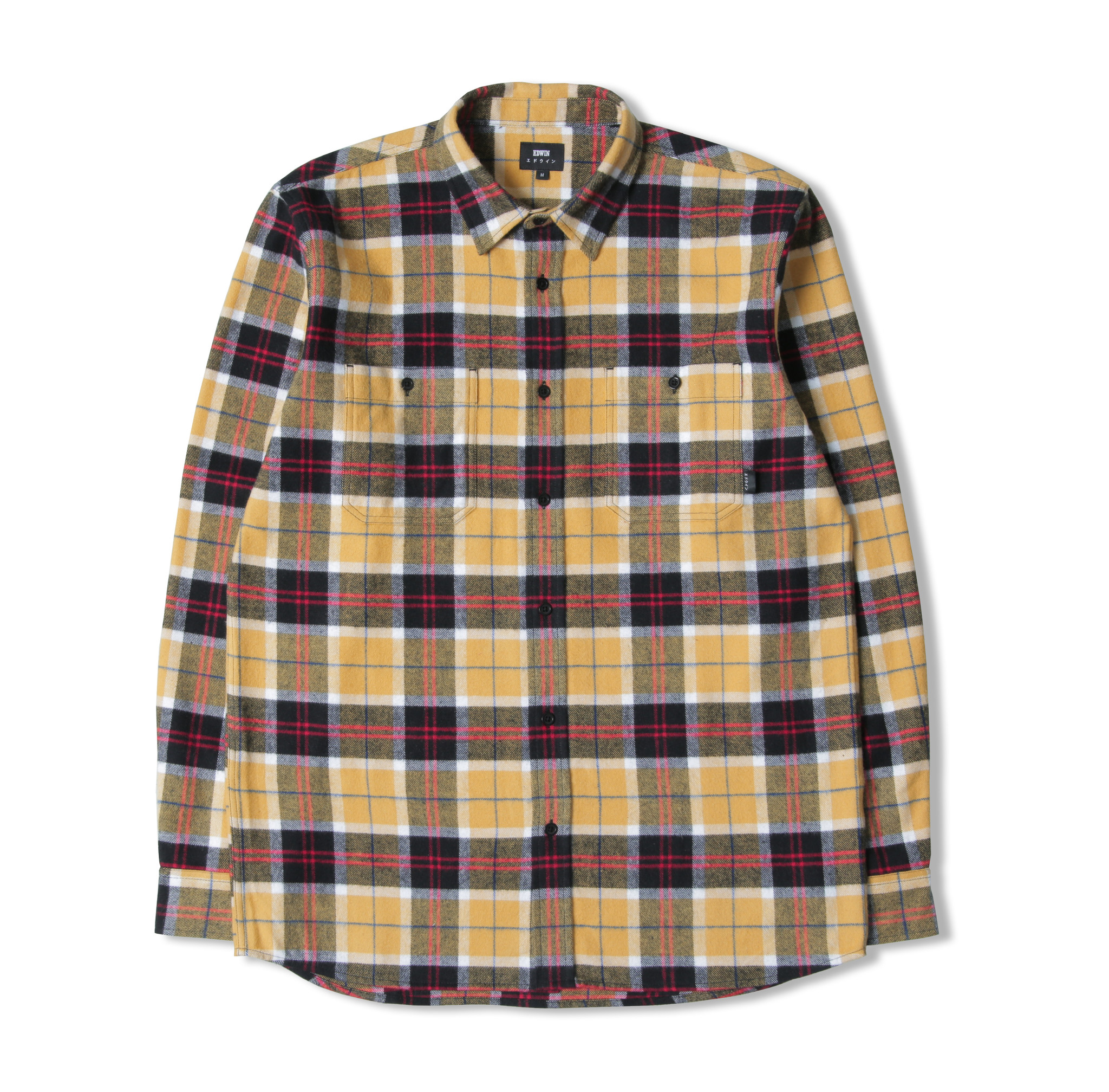 Labour Shirt Heavy Brushed Cotton Flannel Yellow Black-1