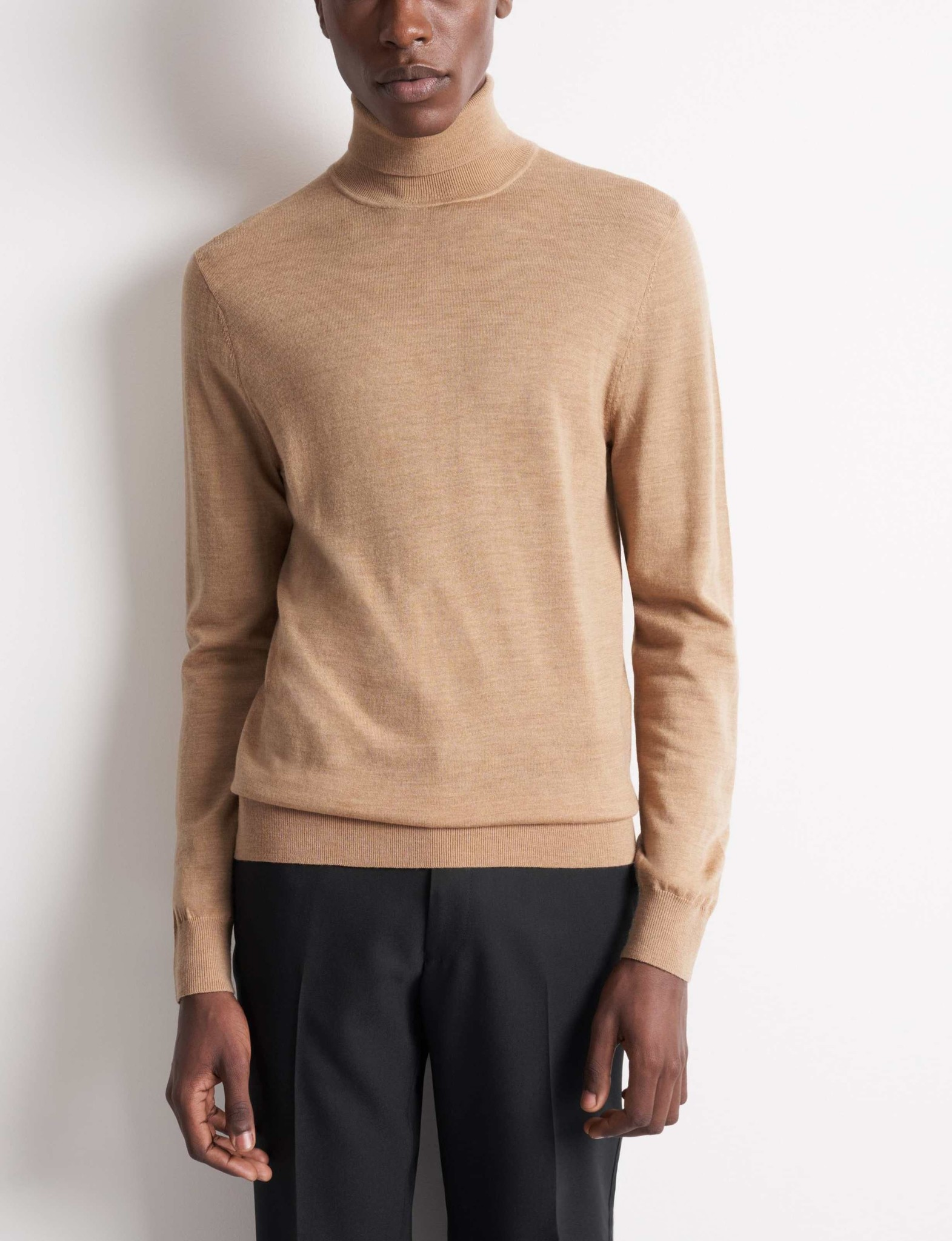 Nevile Macchiato Brown Turtle Neck Wool-1