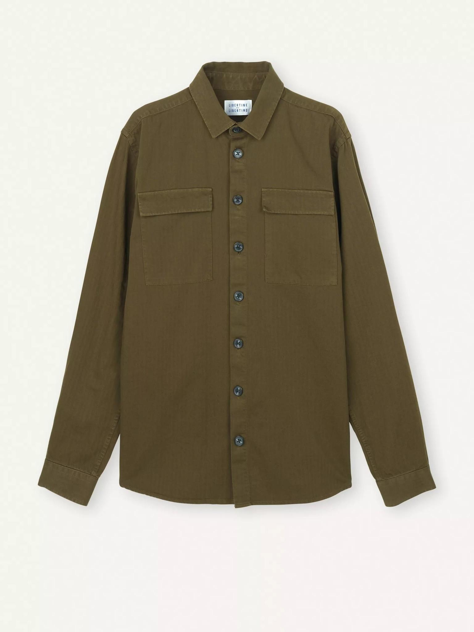Nation Overshirt Herringbone Olive Green-1
