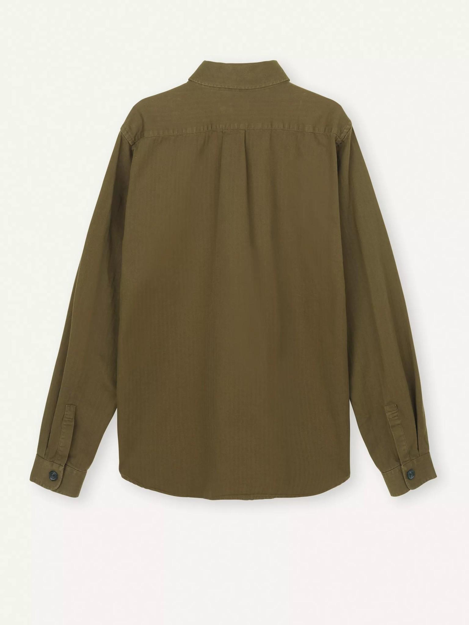 Nation Overshirt Herringbone Olive Green-2