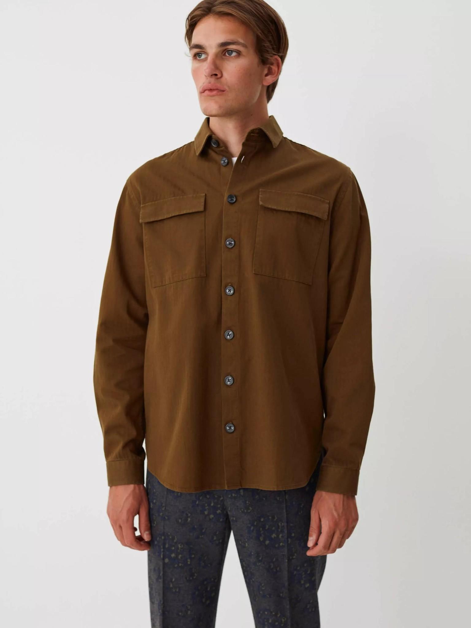 Nation Overshirt Herringbone Olive Green-3