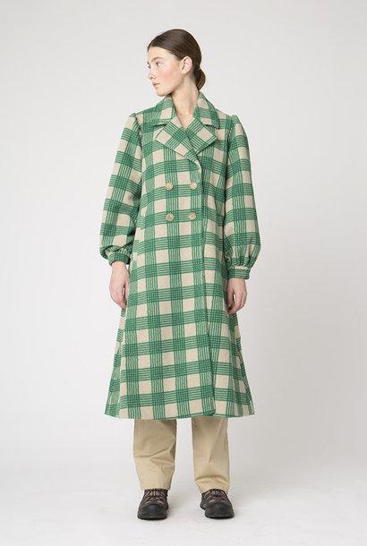 Alina groene crèmekleurige geruite jas