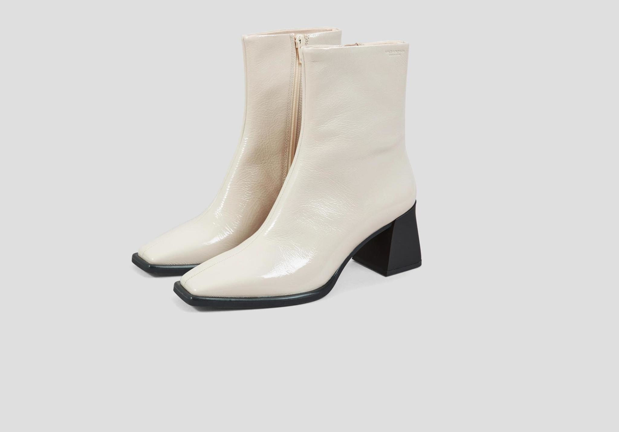 Hedda Patent White Leather Boots-2