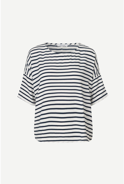 Mains Tee  White Blue Cream Stripe