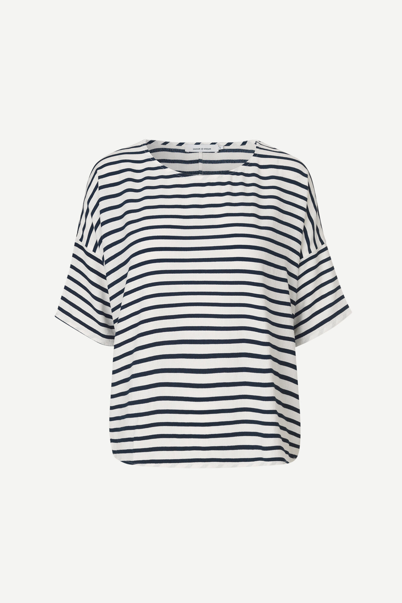 Mains Tee  White Blue Cream Stripe 5687-1