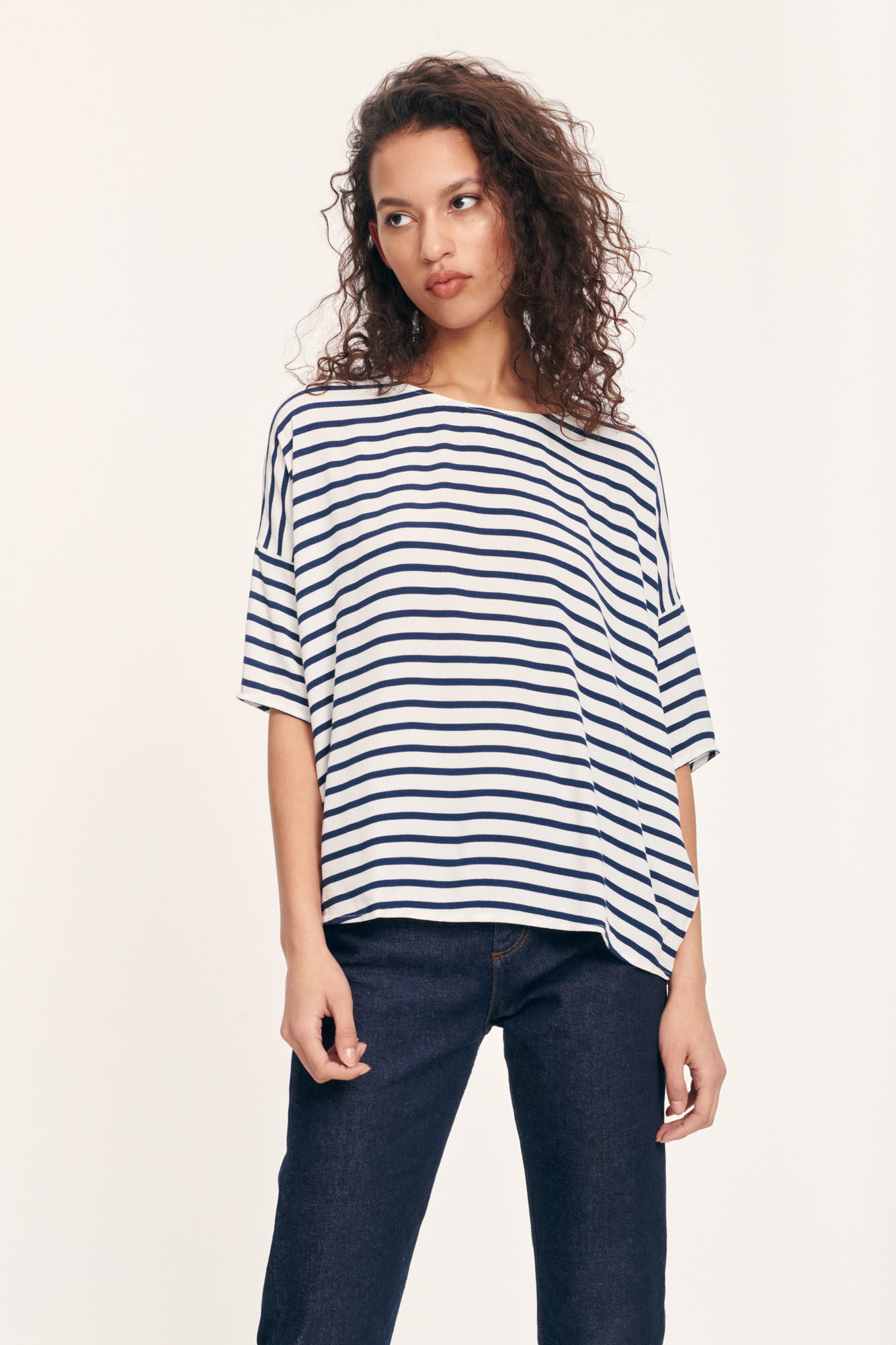 Mains Tee  White Blue Cream Stripe 5687-4