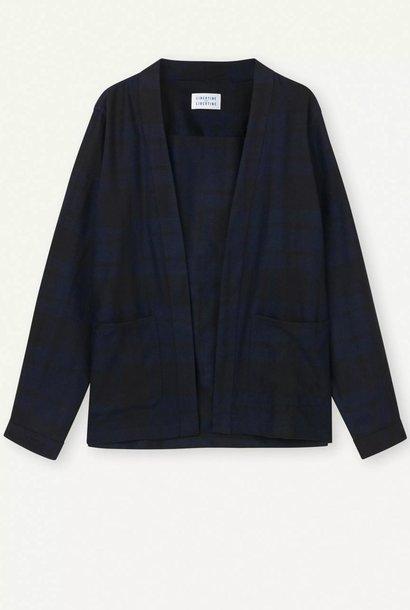 Uproar donker marineblauw geruit kimono-shirt
