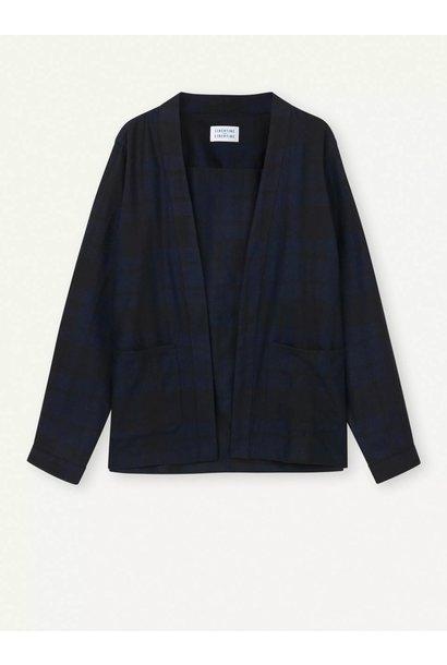 Uproar Dark Navy Check Kimono Shirt