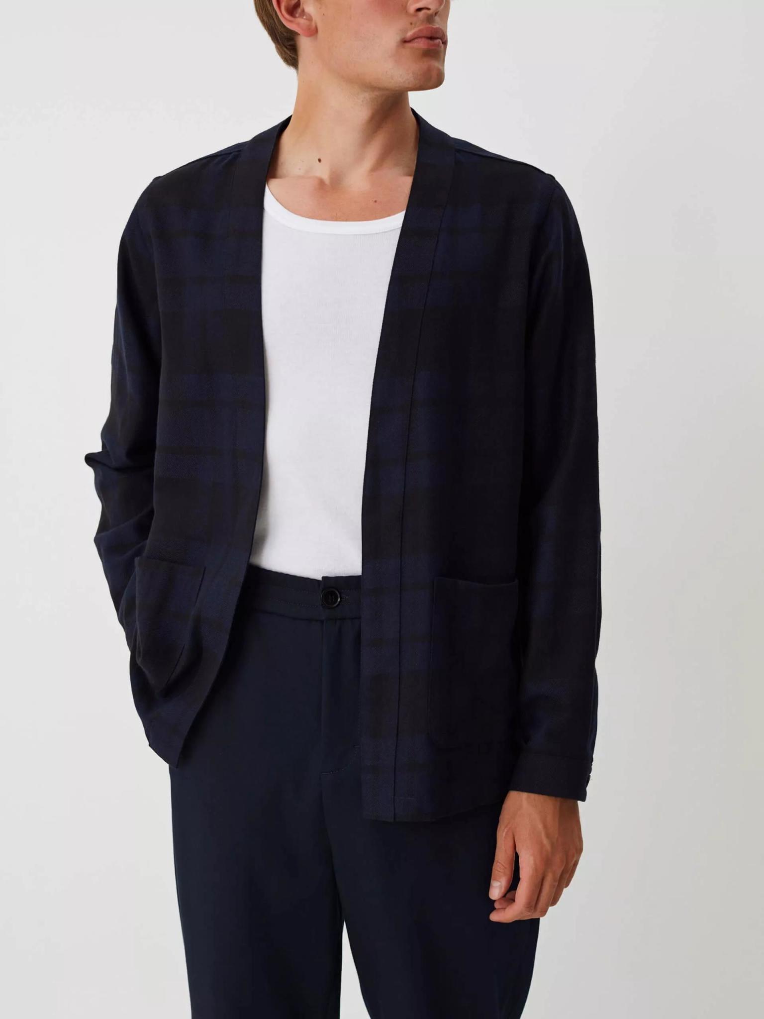 Uproar Dark Navy Check Kimono Shirt-2