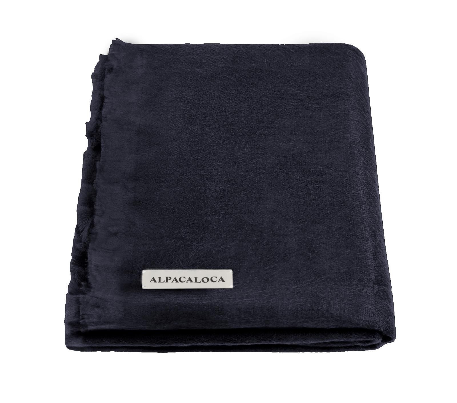 Alpaca Wollen Sjaal Marine Blauw-1