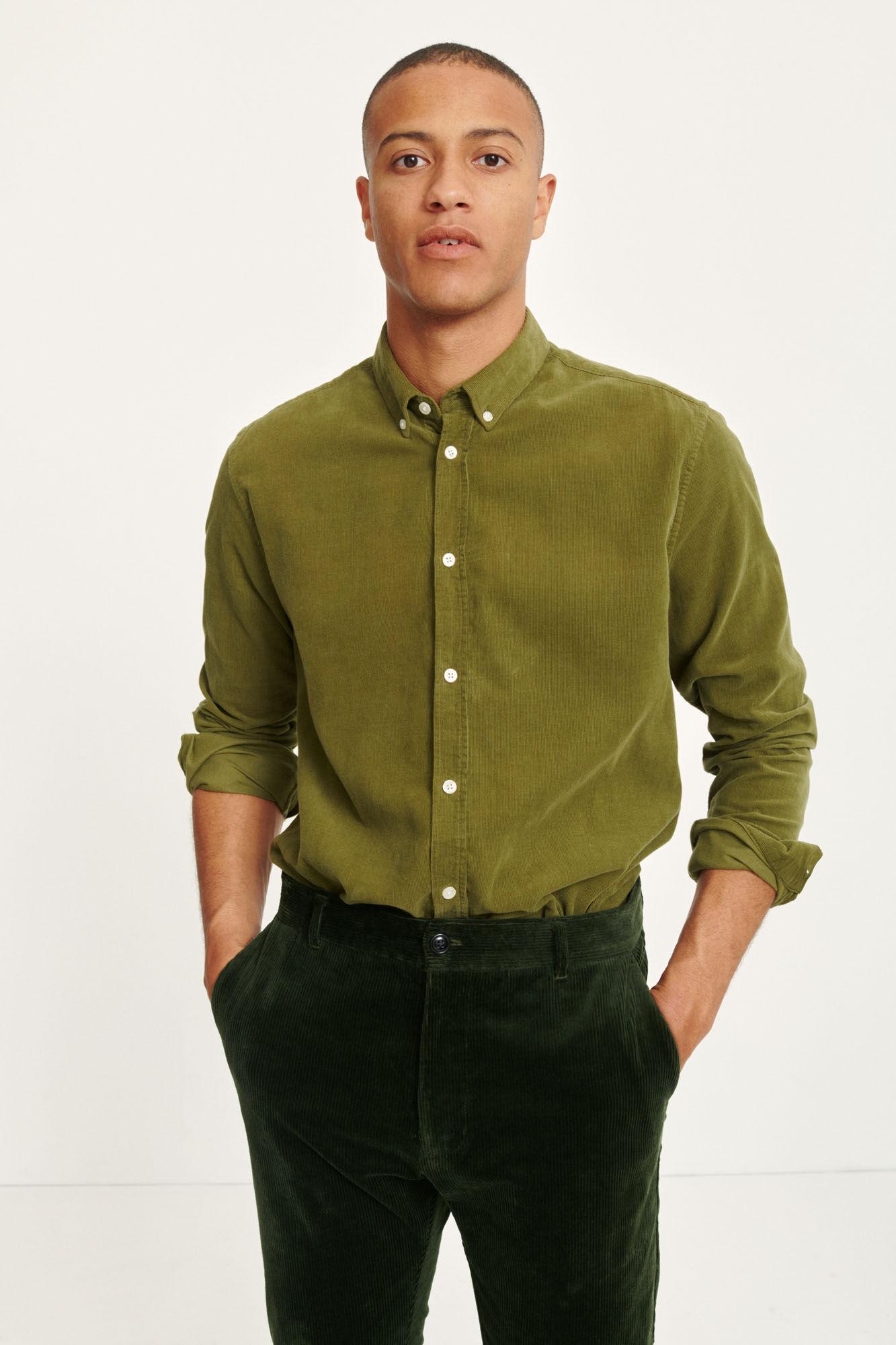 Liam BX Shirt Capulet Olive Green Corduroy-4
