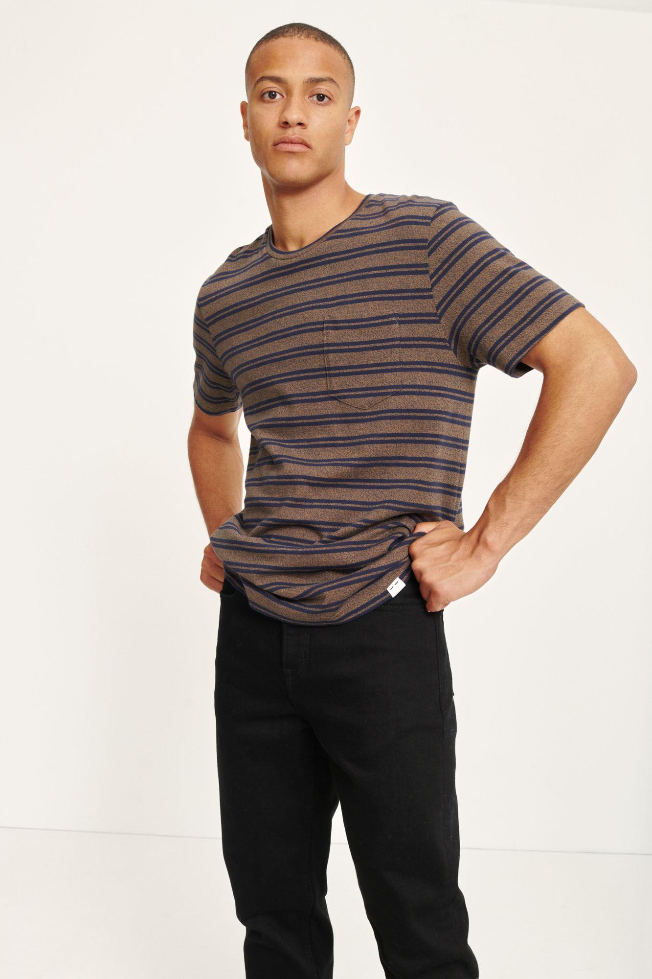 Carpo T-Shirt St Kangaroo Brown Blue Stripe 7888-1