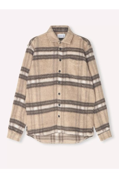 Miracle Light Brown Check Wool Over Shirt