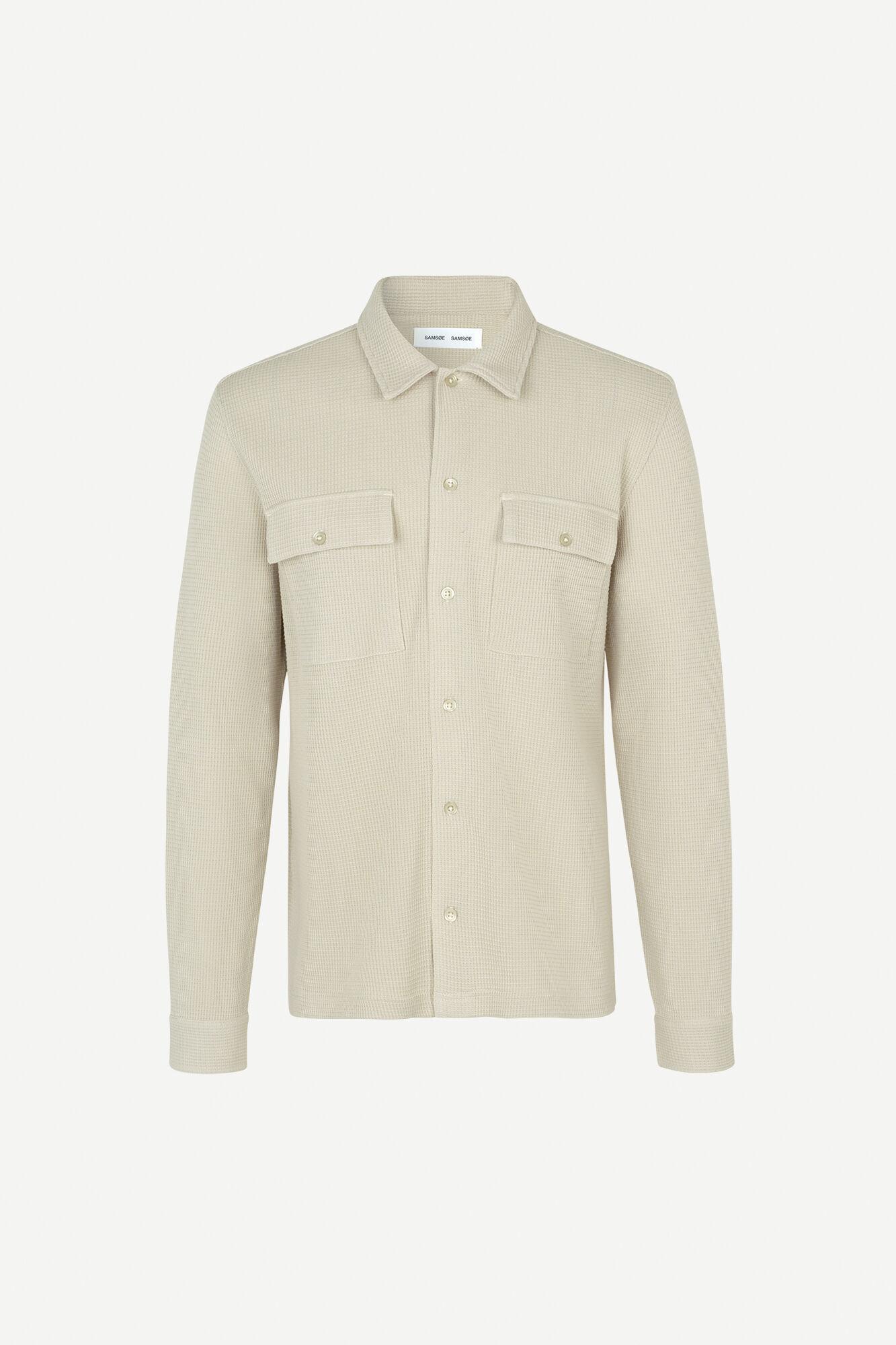 Dayo geweven overhemd in ecru 11586-1