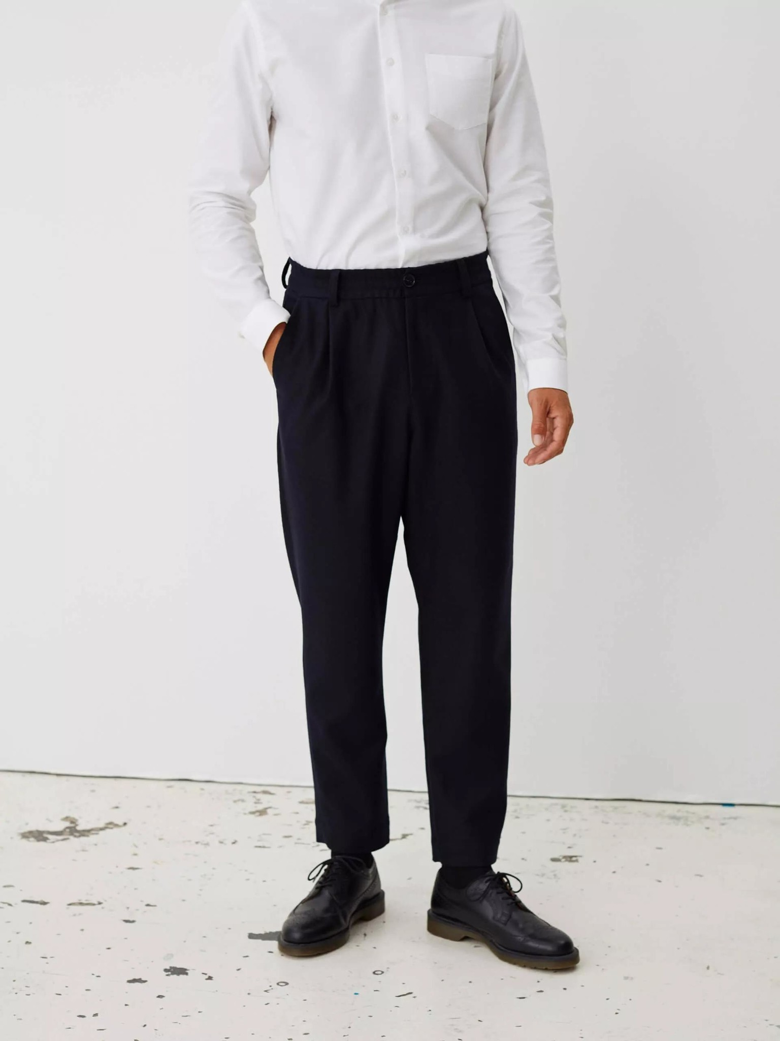 Smoke Relaxed Trouser Dark Navy Twill-1