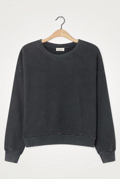 Bowilove Relaxed Fit Sweatshirt Vintage Zwart